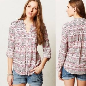 Anthropologie Maeve Islet Button Down in Pink